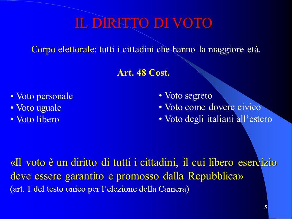4 I DIRITTI POLITICI I DIRITTI POLITICI Diritto di votare (art. 48 Cost.) Diritto di essere votato (art. 51 Cost.) Diritto di associazione in partiti