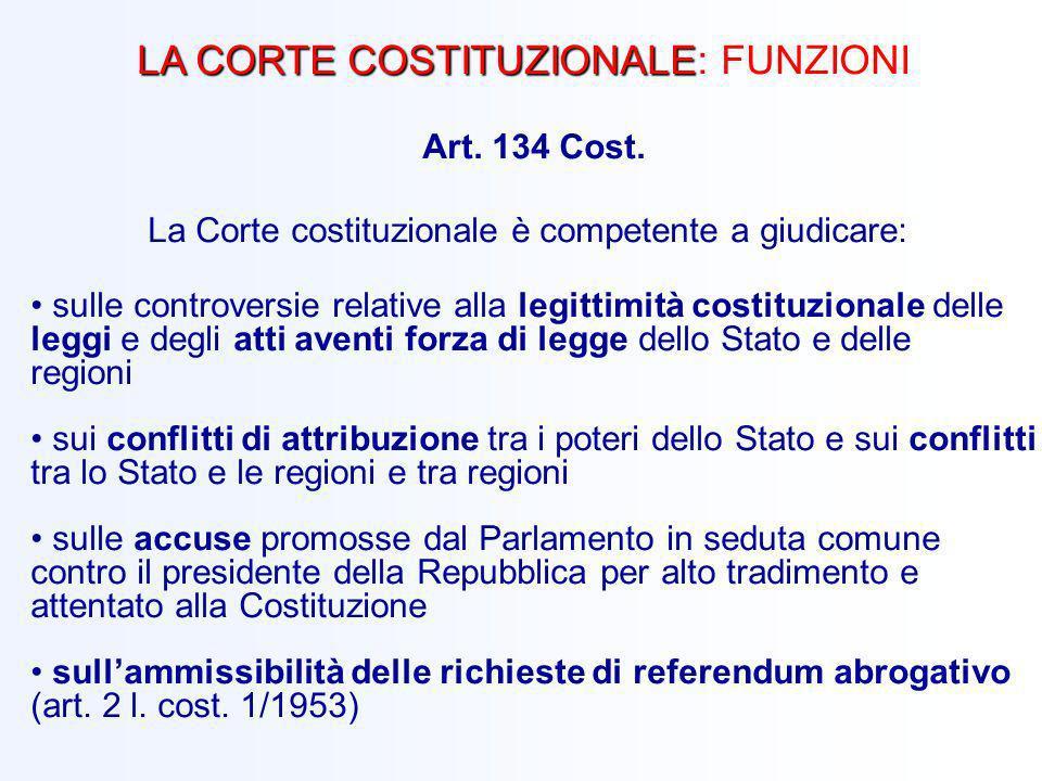 LA CORTE COSTITUZIONALE LA CORTE COSTITUZIONALE: FUNZIONI Art. 134 Cost. La Corte costituzionale è competente a giudicare: sulle controversie relative