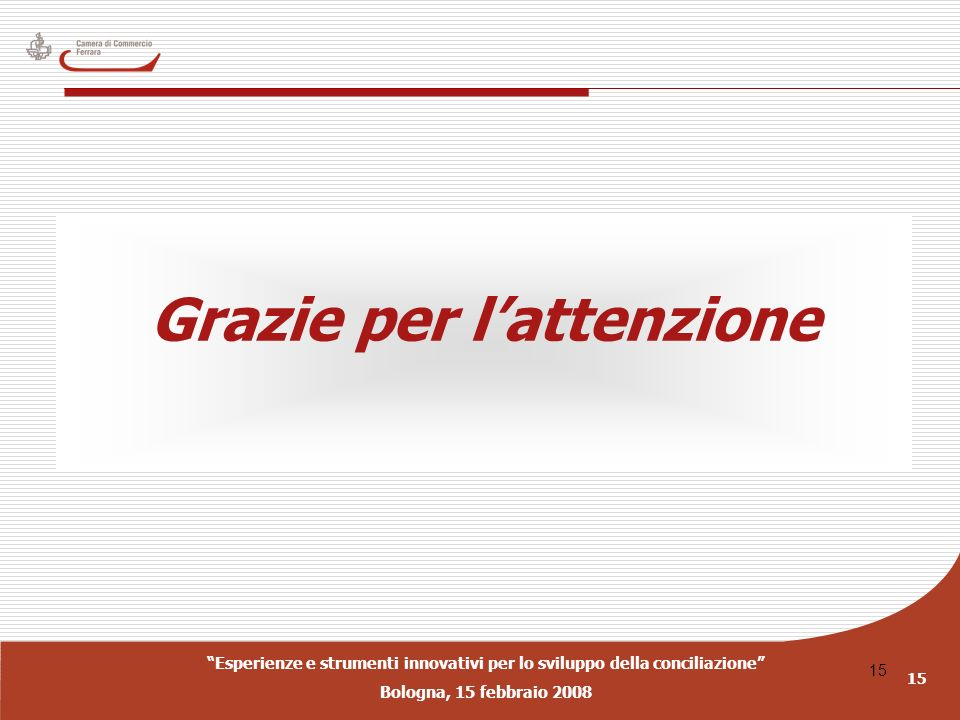 Esperienze e strumenti innovativi per lo sviluppo della conciliazione Bologna, 15 febbraio 2008 15 Grazie per lattenzione