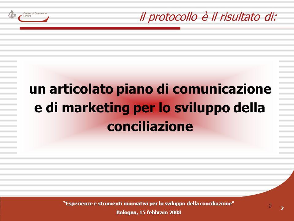 Esperienze e strumenti innovativi per lo sviluppo della conciliazione Bologna, 15 febbraio 2008 2 2 il protocollo è il risultato di: un articolato pia