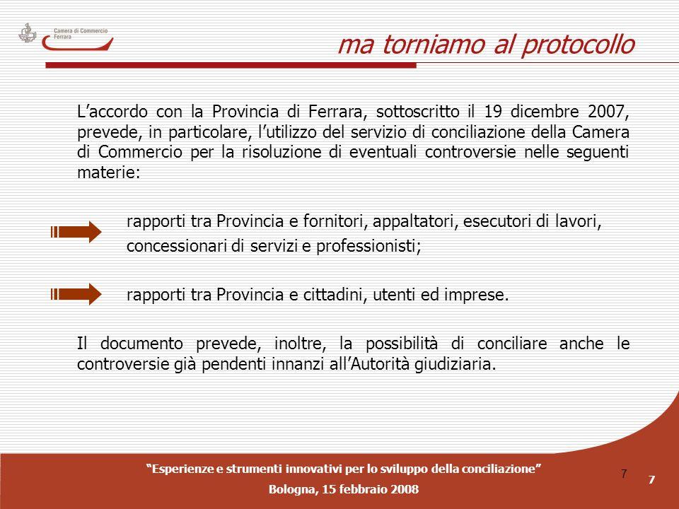 Esperienze e strumenti innovativi per lo sviluppo della conciliazione Bologna, 15 febbraio 2008 7 7 ma torniamo al protocollo Laccordo con la Provinci