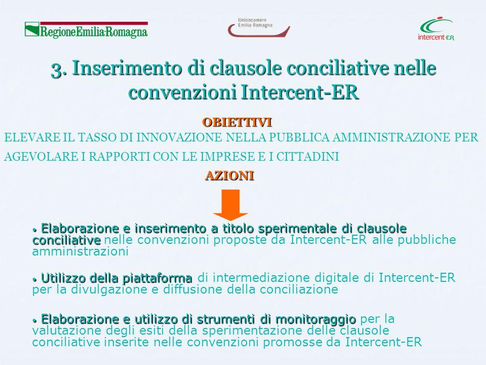 3. Inserimento di clausole conciliative nelle convenzioni Intercent-ER Elaborazione e inserimento a titolo sperimentale di clausole conciliative Elabo