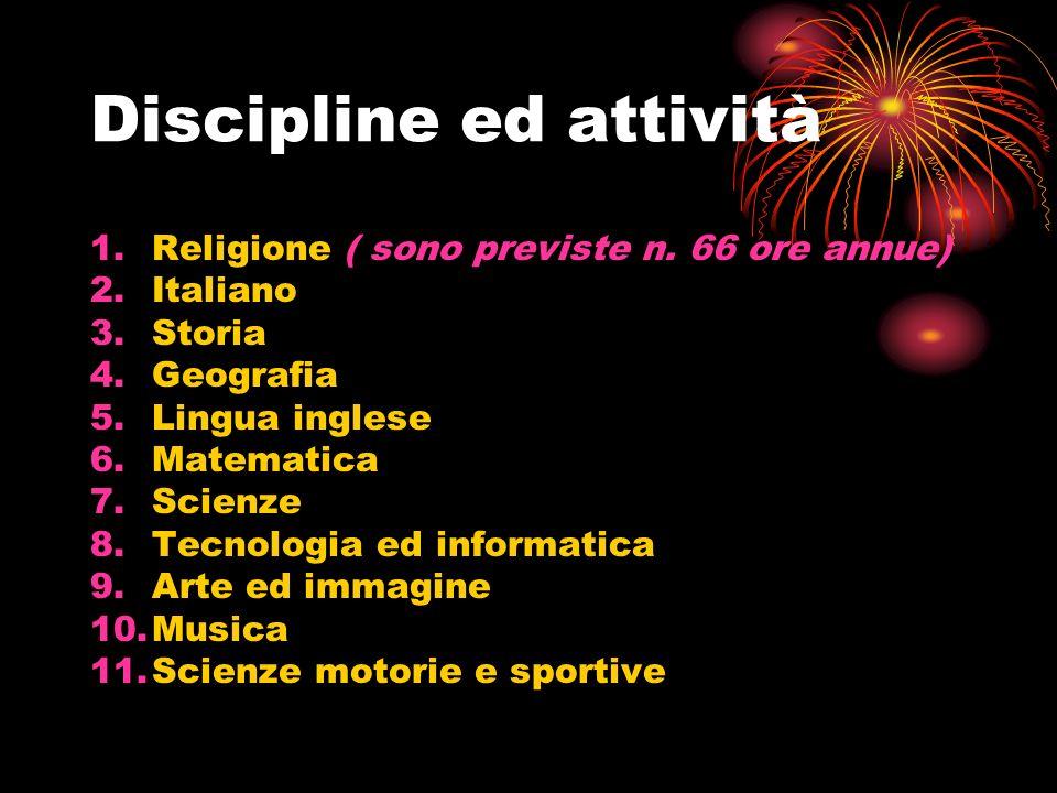 Discipline ed attività 1.Religione ( sono previste n.