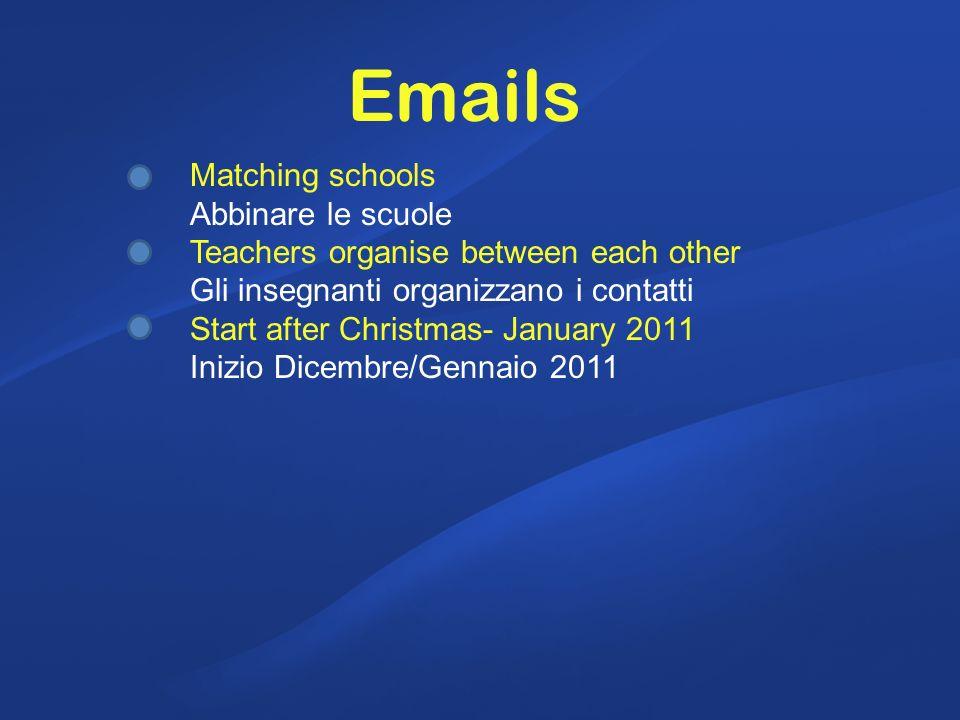 Matching schools Abbinare le scuole Teachers organise between each other Gli insegnanti organizzano i contatti Start after Christmas- January 2011 Inizio Dicembre/Gennaio 2011 Emails