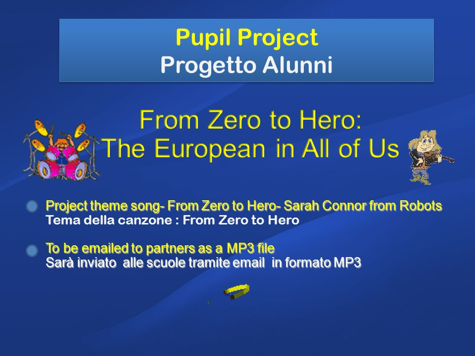 Pupil Project Progetto Alunni Project theme song- From Zero to Hero- Sarah Connor from Robots Tema della canzone : From Zero to Hero To be emailed to partners as a MP3 file Sarà inviato alle scuole tramite email in formato MP3