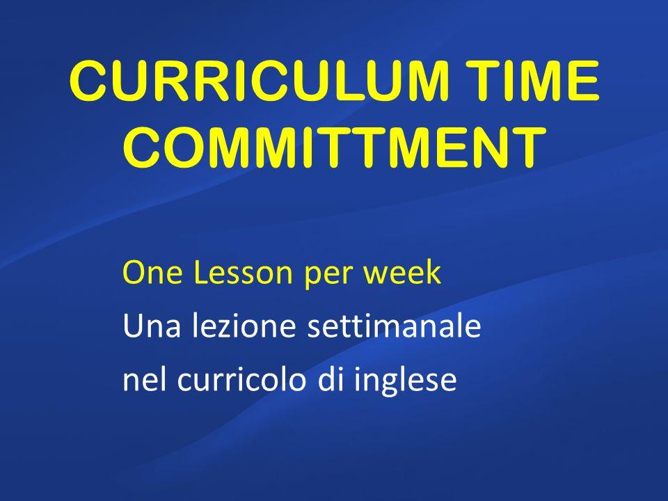 CURRICULUM TIME COMMITTMENT One Lesson per week Una lezione settimanale nel curricolo di inglese