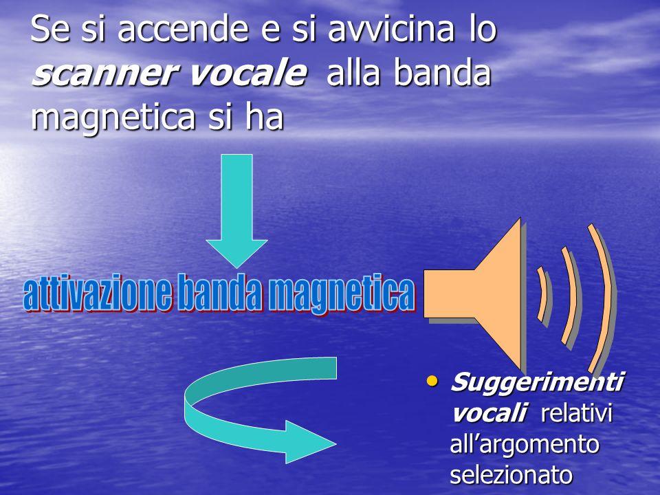 Se si accende e si avvicina lo scanner vocale alla banda magnetica si ha Suggerimenti vocali relativi allargomento selezionato Suggerimenti vocali rel