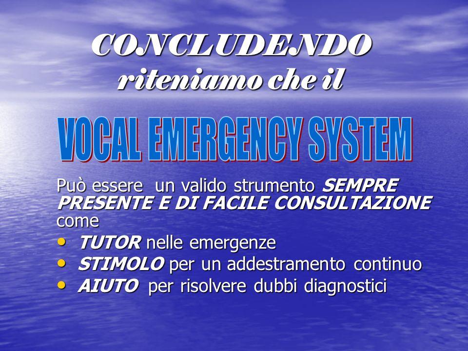 CONCLUDENDO riteniamo che il Può essere un valido strumento SEMPRE PRESENTE E DI FACILE CONSULTAZIONE come TUTOR nelle emergenze TUTOR nelle emergenze