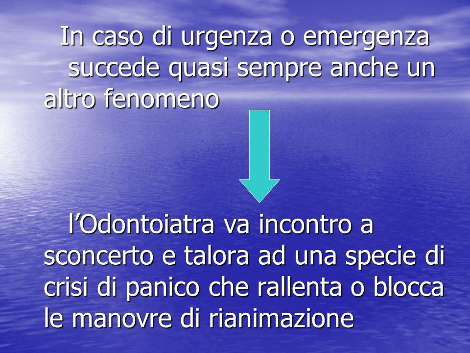 In caso di urgenza o emergenza succede quasi sempre anche un altro fenomeno lOdontoiatra va incontro a sconcerto e talora ad una specie di crisi di pa
