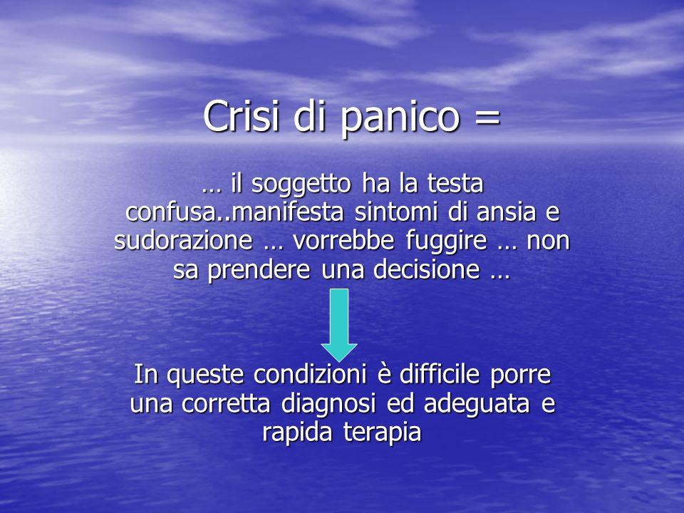 Crisi di panico = … il soggetto ha la testa confusa..manifesta sintomi di ansia e sudorazione … vorrebbe fuggire … non sa prendere una decisione … In
