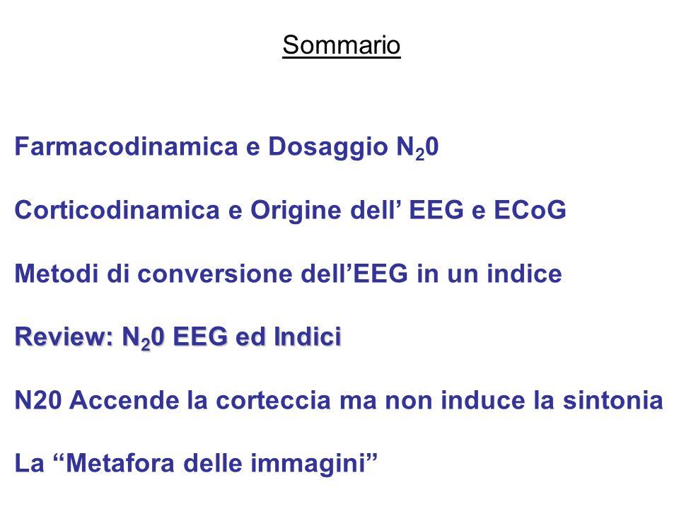 Farmacodinamica e Dosaggio N 2 0 Corticodinamica e Origine dell EEG e ECoG Metodi di conversione dellEEG in un indice Review: N 2 0 EEG ed Indici N20
