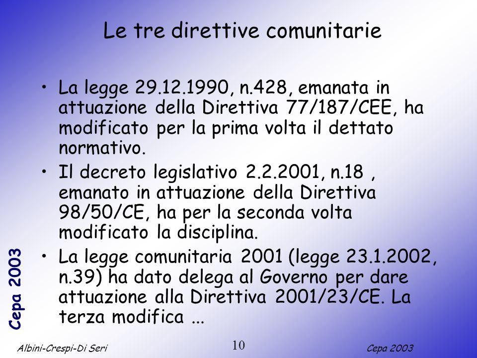 Albini-Crespi-Di SeriCepa 2003 10 Le tre direttive comunitarie La legge 29.12.1990, n.428, emanata in attuazione della Direttiva 77/187/CEE, ha modificato per la prima volta il dettato normativo.