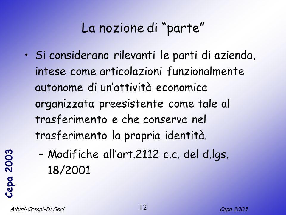 Albini-Crespi-Di SeriCepa 2003 12 La nozione di parte Si considerano rilevanti le parti di azienda, intese come articolazioni funzionalmente autonome di unattività economica organizzata preesistente come tale al trasferimento e che conserva nel trasferimento la propria identità.