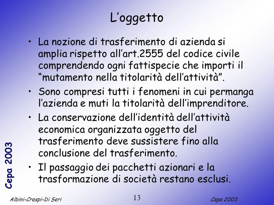 Albini-Crespi-Di SeriCepa 2003 13 Loggetto La nozione di trasferimento di azienda si amplia rispetto allart.2555 del codice civile comprendendo ogni fattispecie che importi il mutamento nella titolarità dellattività.