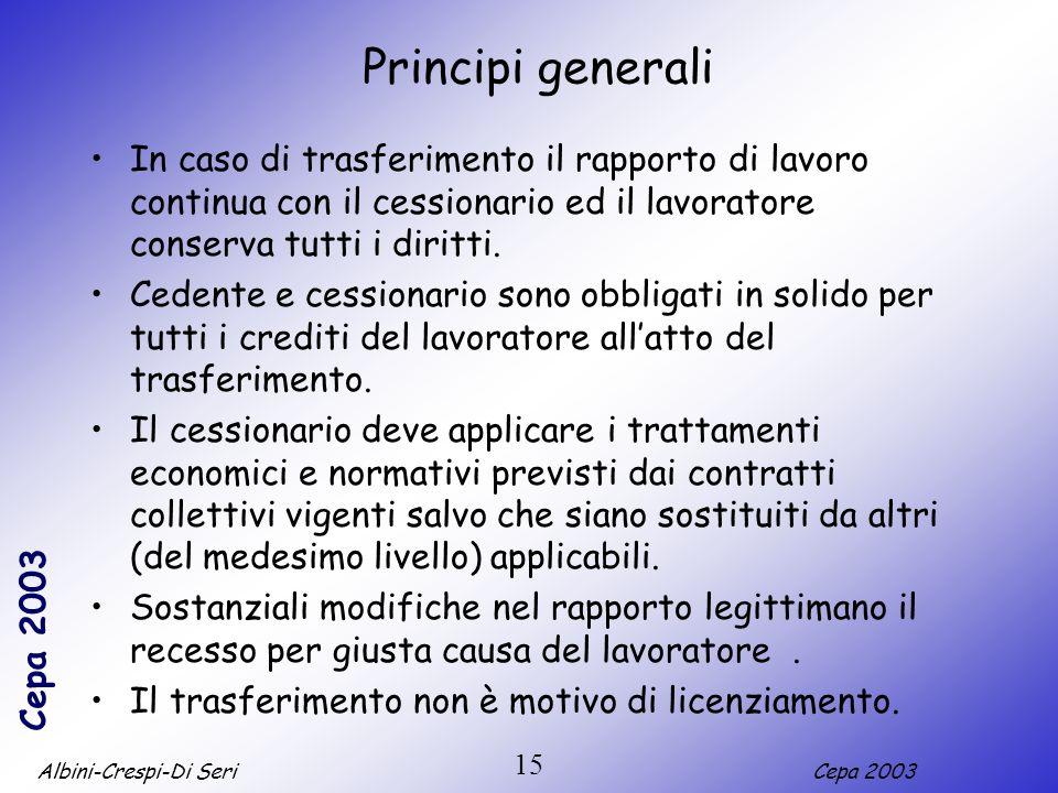Albini-Crespi-Di SeriCepa 2003 15 Principi generali In caso di trasferimento il rapporto di lavoro continua con il cessionario ed il lavoratore conserva tutti i diritti.