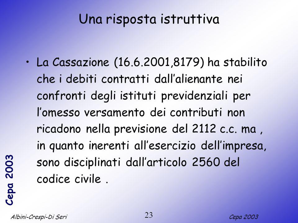 Albini-Crespi-Di SeriCepa 2003 23 Una risposta istruttiva La Cassazione (16.6.2001,8179) ha stabilito che i debiti contratti dallalienante nei confronti degli istituti previdenziali per lomesso versamento dei contributi non ricadono nella previsione del 2112 c.c.