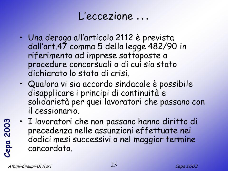 Albini-Crespi-Di SeriCepa 2003 25 Leccezione … Una deroga allarticolo 2112 è prevista dallart.47 comma 5 della legge 482/90 in riferimento ad imprese sottoposte a procedure concorsuali o di cui sia stato dichiarato lo stato di crisi.