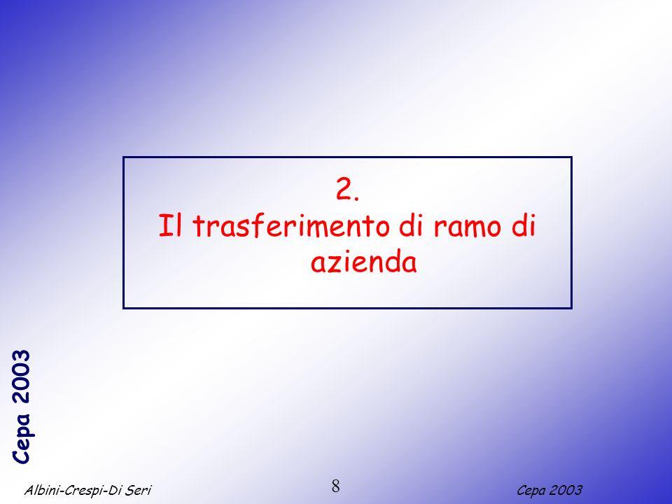 Albini-Crespi-Di SeriCepa 2003 8 2. Il trasferimento di ramo di azienda