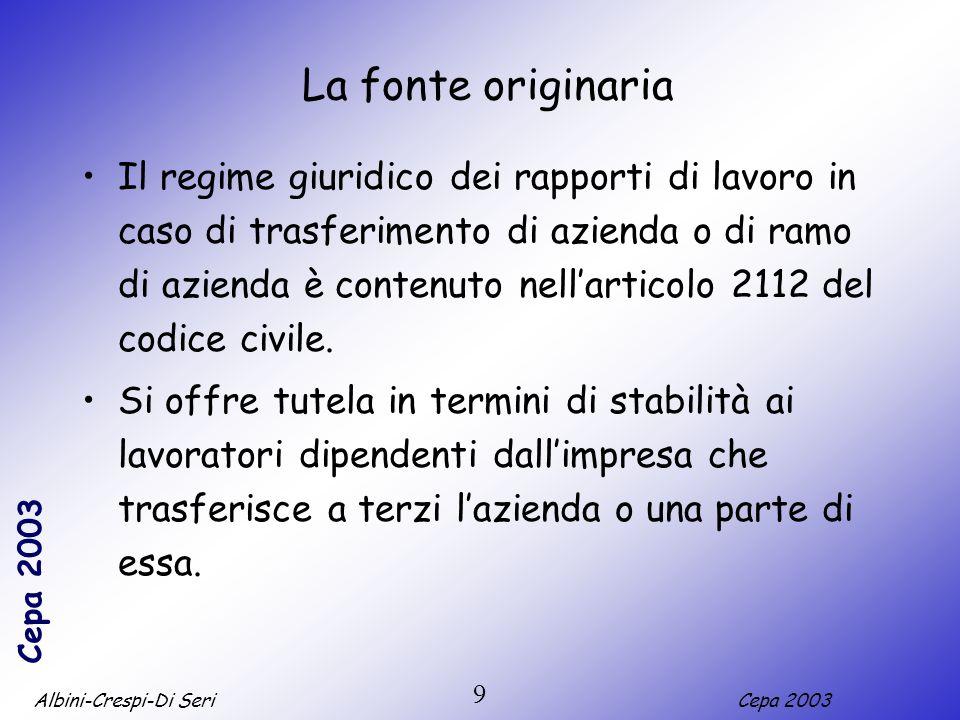 Albini-Crespi-Di SeriCepa 2003 9 La fonte originaria Il regime giuridico dei rapporti di lavoro in caso di trasferimento di azienda o di ramo di azienda è contenuto nellarticolo 2112 del codice civile.