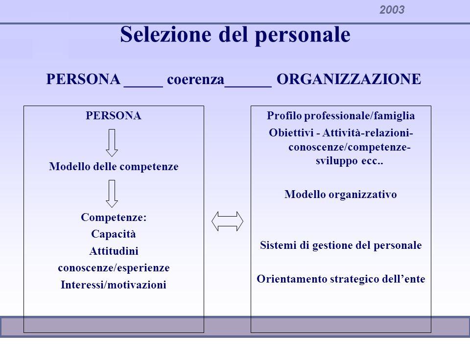 2003 Selezione del personale PERSONA Modello delle competenze Competenze: Capacità Attitudini conoscenze/esperienze Interessi/motivazioni Profilo prof