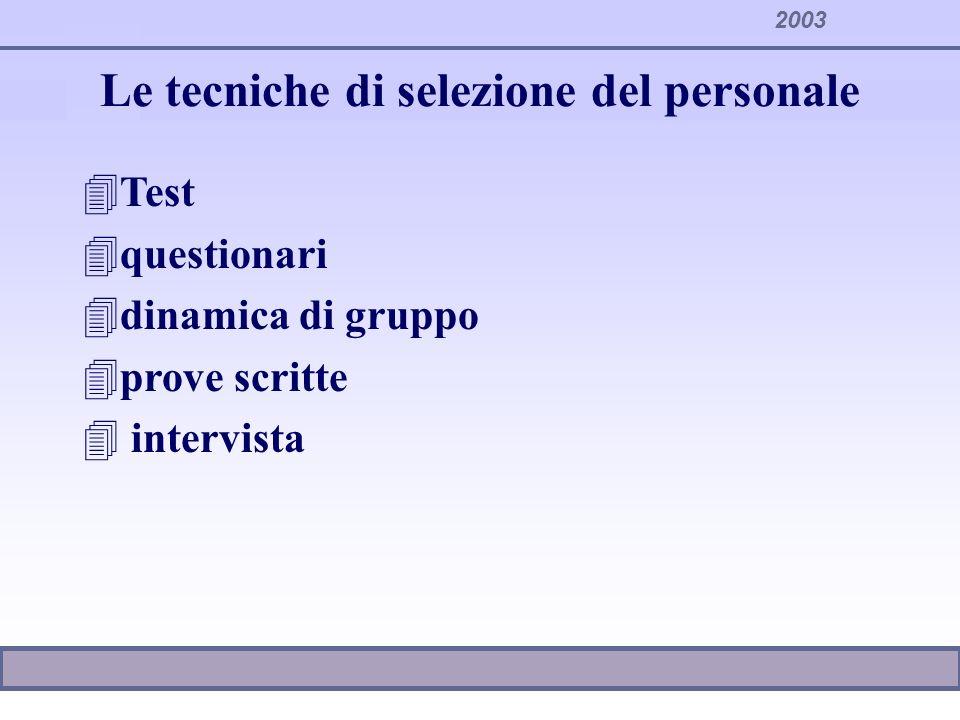 2003 Le tecniche di selezione del personale 4Test 4questionari 4dinamica di gruppo 4prove scritte 4 intervista