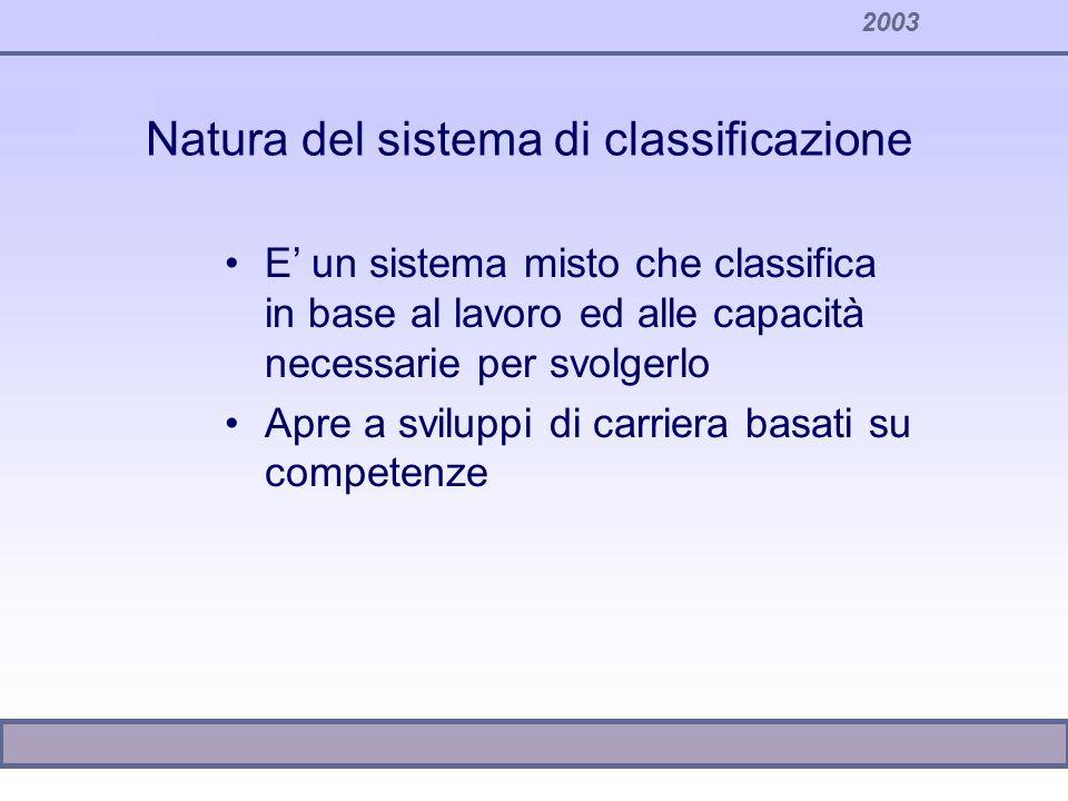 2003 Natura del sistema di classificazione E un sistema misto che classifica in base al lavoro ed alle capacità necessarie per svolgerlo Apre a svilup