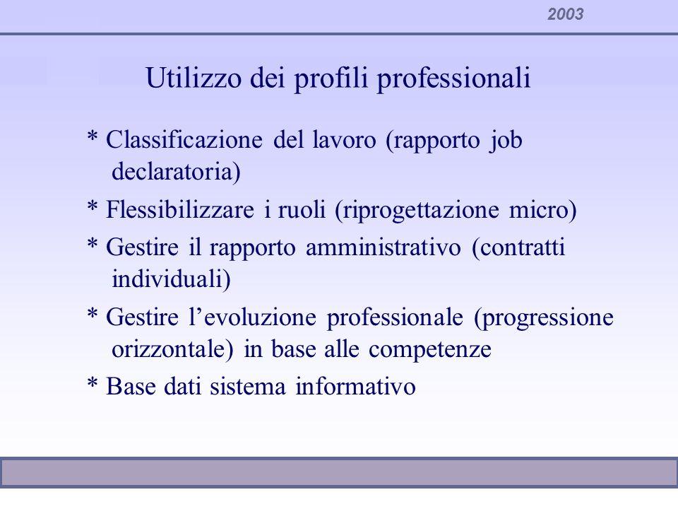 2003 Utilizzo dei profili professionali * Classificazione del lavoro (rapporto job declaratoria) * Flessibilizzare i ruoli (riprogettazione micro) * G