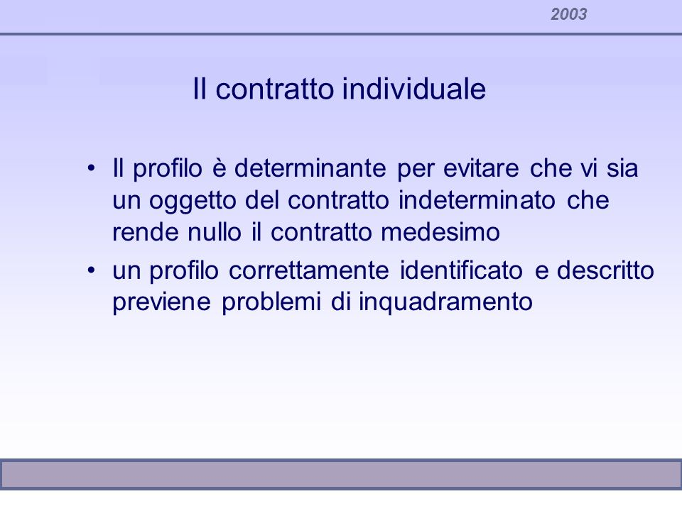 2003 Il contratto individuale Il profilo è determinante per evitare che vi sia un oggetto del contratto indeterminato che rende nullo il contratto med