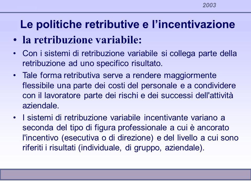 2003 Le politiche retributive e lincentivazione la retribuzione variabile: Con i sistemi di retribuzione variabile si collega parte della retribuzione
