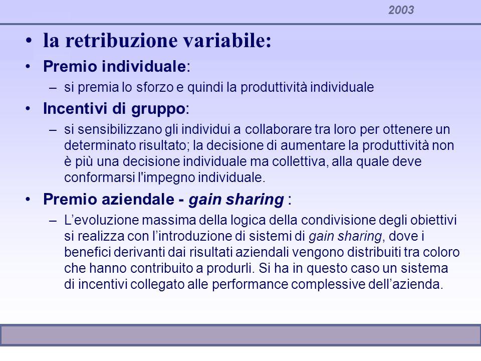 2003 la retribuzione variabile: Premio individuale: –si premia lo sforzo e quindi la produttività individuale Incentivi di gruppo: –si sensibilizzano