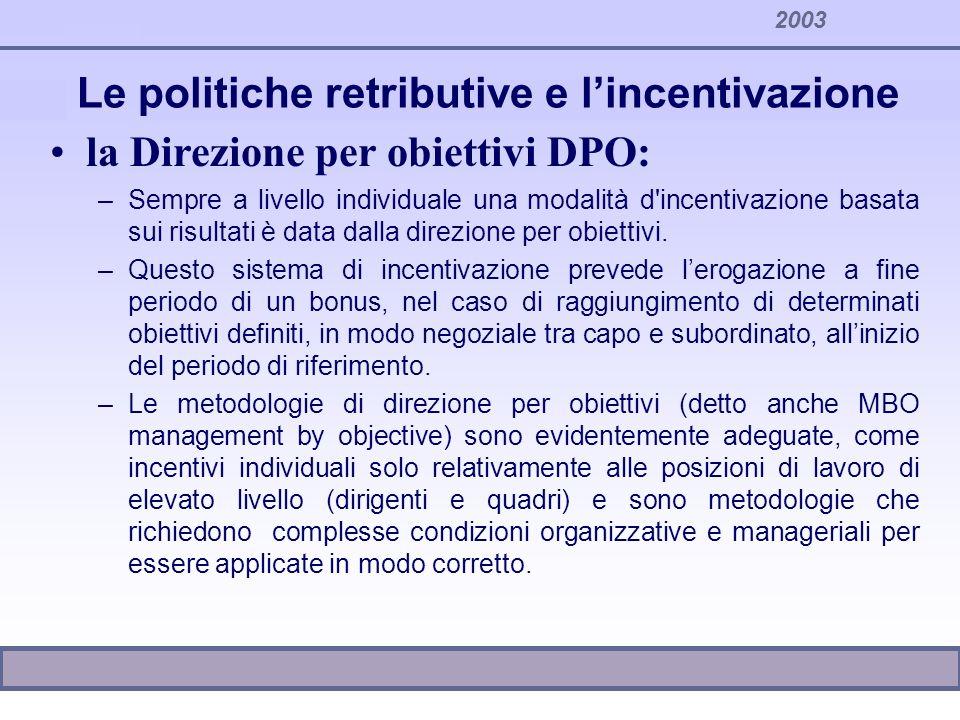 Le politiche retributive e lincentivazione la Direzione per obiettivi DPO: –Sempre a livello individuale una modalità d'incentivazione basata sui risu