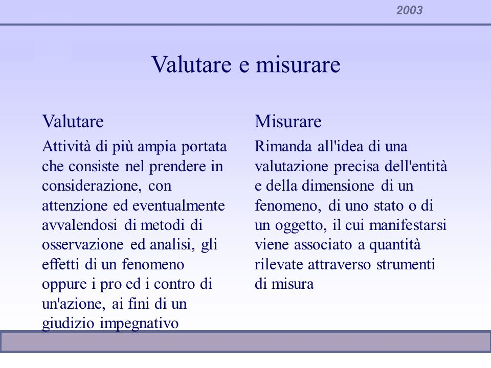 2003 Valutare e misurare Valutare Attività di più ampia portata che consiste nel prendere in considerazione, con attenzione ed eventualmente avvalendo