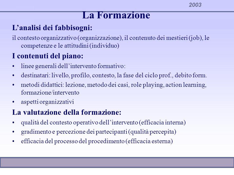 2003 La Formazione Lanalisi dei fabbisogni: il contesto organizzativo (organizzazione), il contenuto dei mestieri (job), le competenze e le attitudini