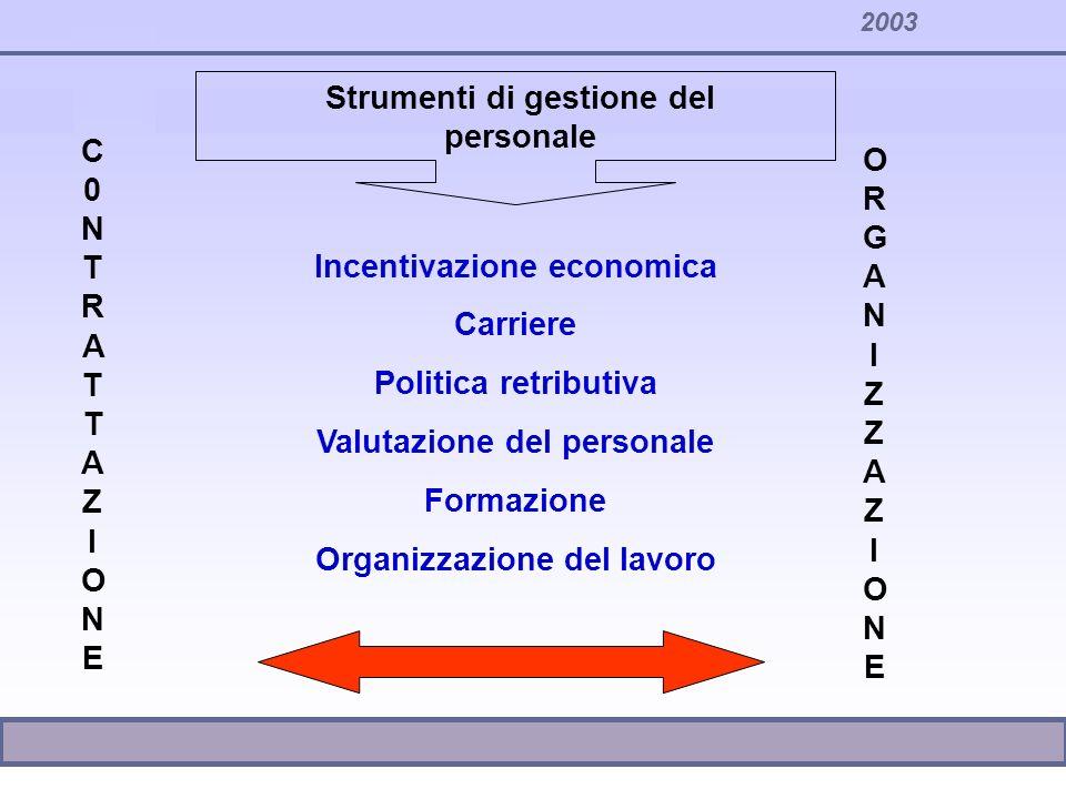 Strumenti di gestione del personale Incentivazione economica Carriere Politica retributiva Valutazione del personale Formazione Organizzazione del lav