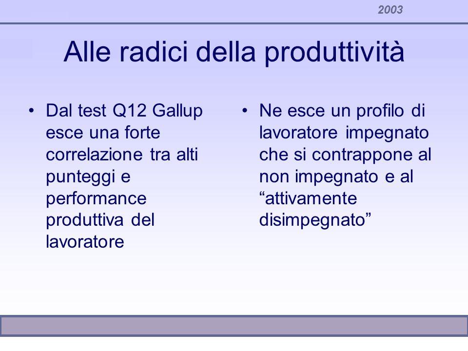 2003 Alle radici della produttività Dal test Q12 Gallup esce una forte correlazione tra alti punteggi e performance produttiva del lavoratore Ne esce