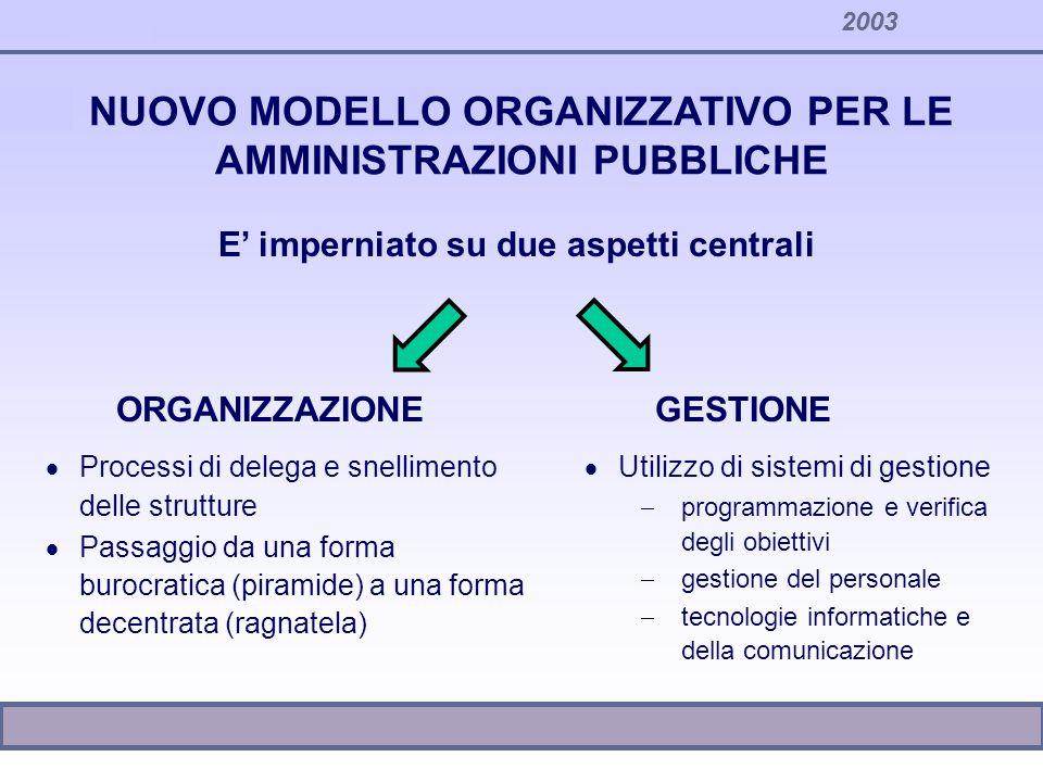2003 NUOVO MODELLO ORGANIZZATIVO PER LE AMMINISTRAZIONI PUBBLICHE E imperniato su due aspetti centrali ORGANIZZAZIONEGESTIONE Processi di delega e sne