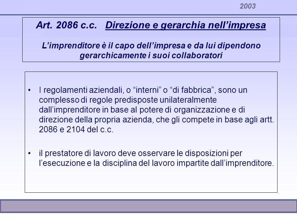 2003 Contenuti dei regolamenti aziendali Passaggi tra le aree Conferimento, revoca e valutazione incarichi di P.O.
