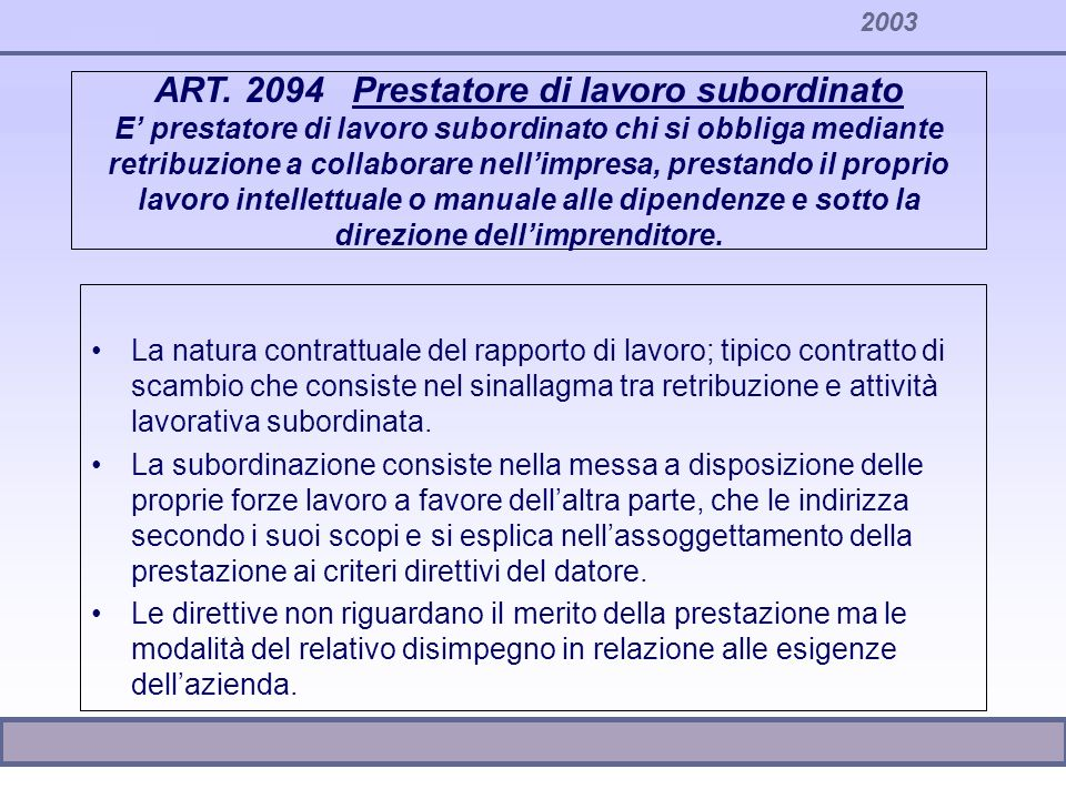 2003 ART. 2094 Prestatore di lavoro subordinato E prestatore di lavoro subordinato chi si obbliga mediante retribuzione a collaborare nellimpresa, pre