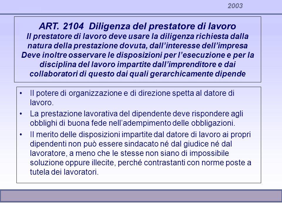 2003 ART. 2104 Diligenza del prestatore di lavoro Il prestatore di lavoro deve usare la diligenza richiesta dalla natura della prestazione dovuta, dal