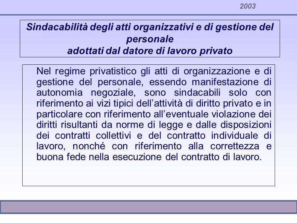 2003 Sindacabilità degli atti organizzativi e di gestione del personale adottati dal datore di lavoro privato Nel regime privatistico gli atti di orga