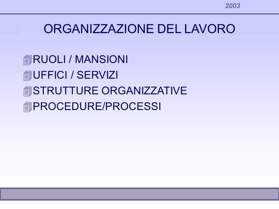 2003 TENDENZE GENERALI DI RIORGANIZZAZIONE Il processo tende a ricomporsi...