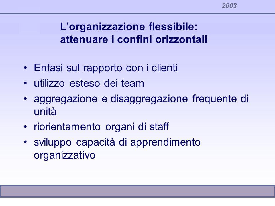 2003 Enfasi sul rapporto con i clienti utilizzo esteso dei team aggregazione e disaggregazione frequente di unità riorientamento organi di staff svilu