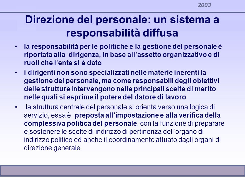 2003 Direzione del personale: un sistema a responsabilità diffusa la responsabilità per le politiche e la gestione del personale è riportata alla diri