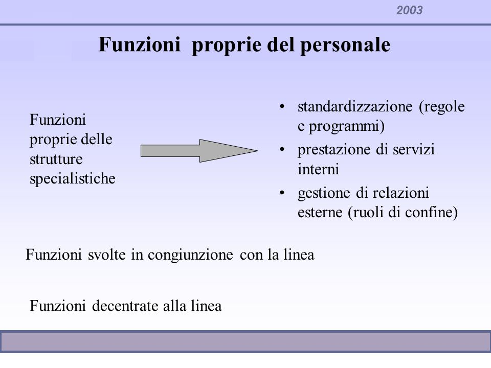2003 Funzioni proprie del personale standardizzazione (regole e programmi) prestazione di servizi interni gestione di relazioni esterne (ruoli di conf