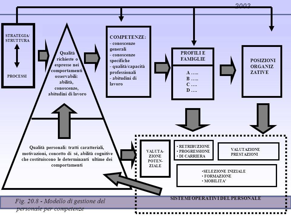 2003 Qualità personali: tratti caratteriali, motivazioni, concetto di sé, abilità cognitive che costituiscono le determinanti ultime dei comportamenti