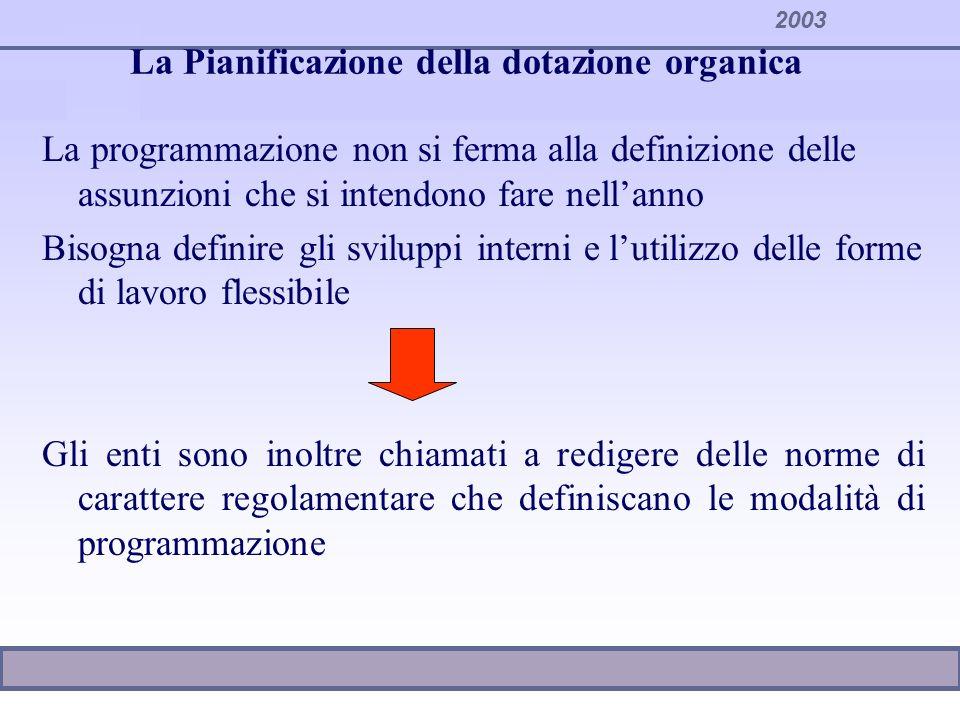 2003 La Pianificazione della dotazione organica La programmazione non si ferma alla definizione delle assunzioni che si intendono fare nellanno Bisogn