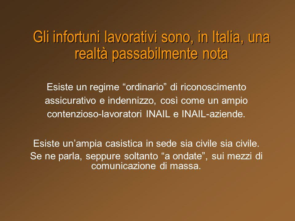 Gli infortuni lavorativi sono, in Italia, una realtà passabilmente nota Esiste un regime ordinario di riconoscimento assicurativo e indennizzo, così c