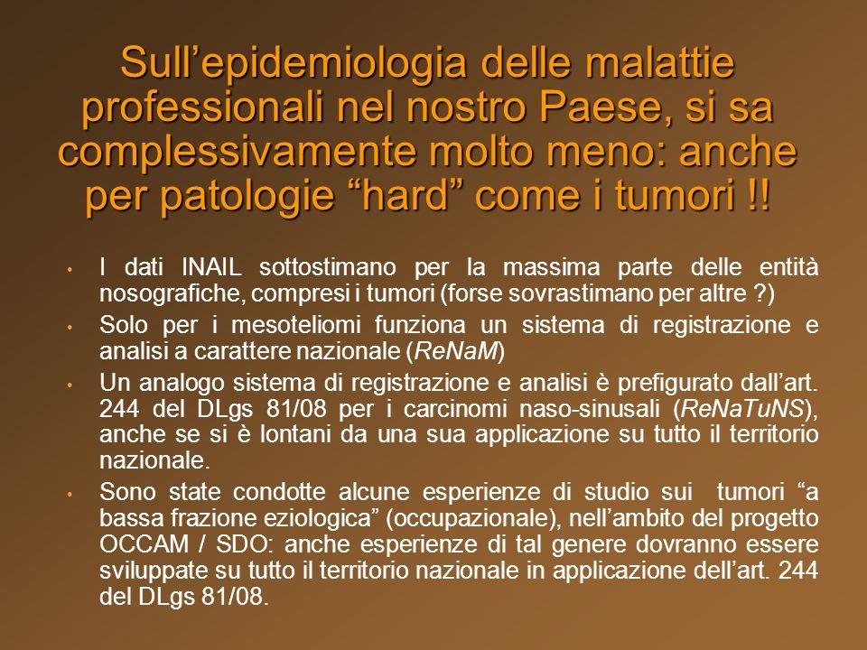 Sullepidemiologia delle malattie professionali nel nostro Paese, si sa complessivamente molto meno: anche per patologie hard come i tumori !! I dati I