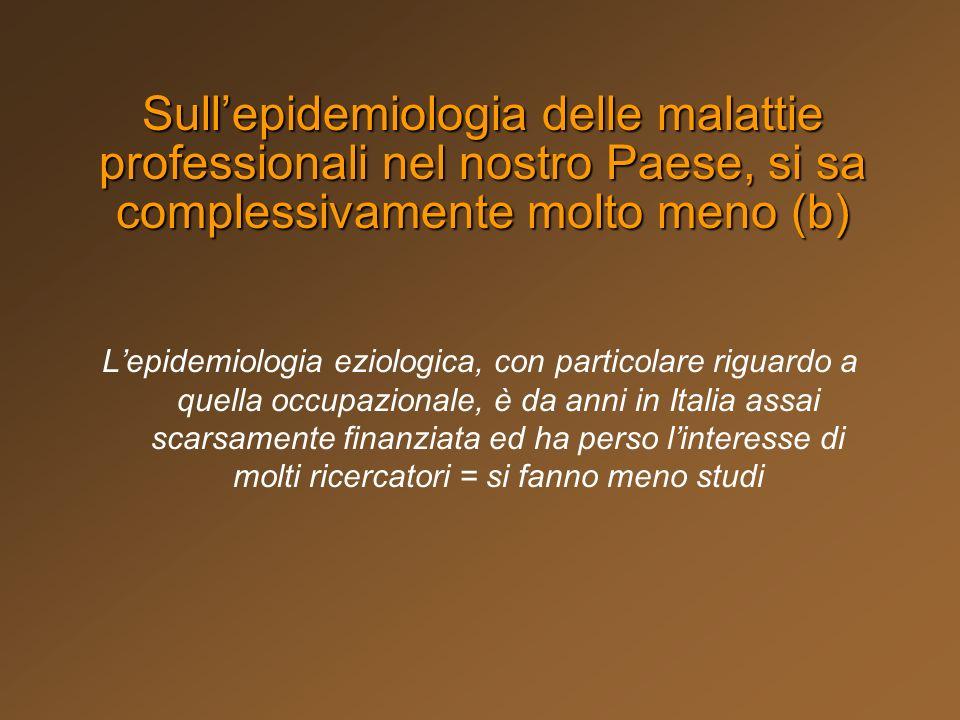 Lepidemiologia eziologica, con particolare riguardo a quella occupazionale, è da anni in Italia assai scarsamente finanziata ed ha perso linteresse di