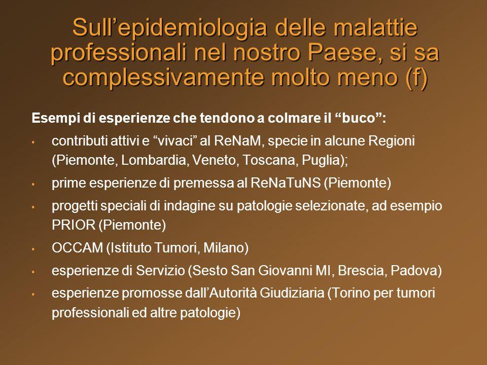 Esempi di esperienze che tendono a colmare il buco: contributi attivi e vivaci al ReNaM, specie in alcune Regioni (Piemonte, Lombardia, Veneto, Toscan